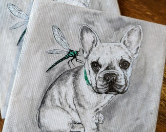 French bulldog coaster - Canvas print and ceramic tile coaster featuring original artwork