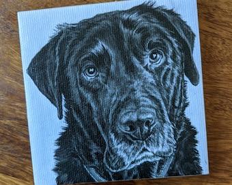 Black Labrador Dog coaster - Canvas print and ceramic tile coaster featuring original artwork of Labrador Dog