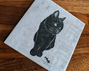 Black Cat coaster - Canvas print and ceramic tile coaster featuring original artwork - Cat and Ant painting