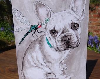 French Bulldog card - Dog birthday card - French Bulldog party invite - dog gift - French Bulldog Birthday card - dog lovers - Bulldog gift