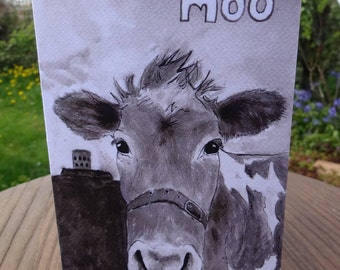 Guernsey cow card  - cow birthday card - cow friend indian ink painting for animal lovers - 100% recycled card