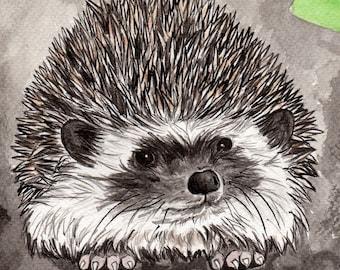 Hegdehog print - Hedgehog and Snail art - in the garden print - Hedgehog gift - Hedgehog art - Mounted Fine art print of Indian ink painting