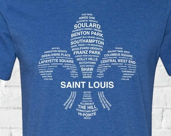 STL Neighborhoods Tee, St Louis T-Shirt, Soft T-Shirt, Saint Louis, FLeur De LIs