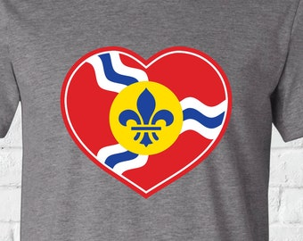 STL Heart Shirt, St. Louis Flag Shirt, St. Louis Flag, St. Louis Heart, STL Heart, St. Louis