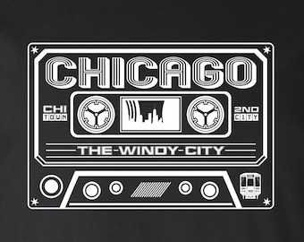 Chicago Cassette Tee - A Chicago Shirt by Benton Park Prints, Chicago, CHI