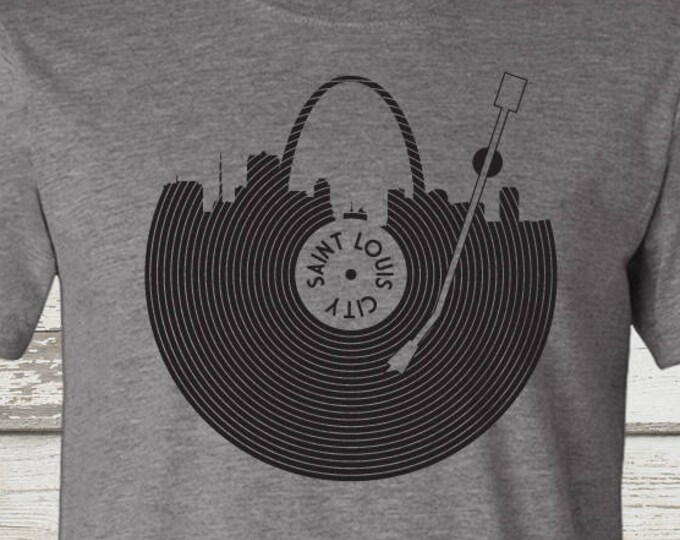 Featured listing image: STL Record T-Shirt - STL City Shirt by Benton Park Prints, St Louis, Saint Louis