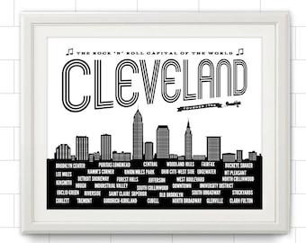 Cleveland, Cleveland Neighborhoods, Cleveland Skyline, Cleveland Ohio, Cleveland Art, Cleveland Print, Cleveland Poster, Ohio State, Ohio