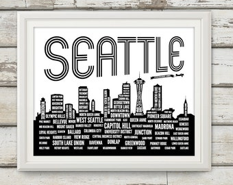 Seattle, Seattle Neighborhoods, Seattle Skyline, Seattle Washington, Seattle Art, Seattle Print, Seattle Poster, Seattle Typography
