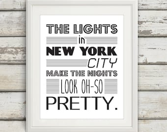 New York Print, New York City, New York Poster, Wall Art, Black and White, NYC, New York Skyline, New York, Typography