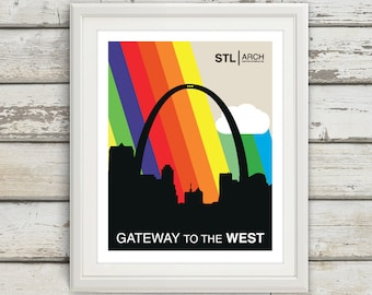 STL, St Louis, Saint Louis, The Gateway to the West, Arch, St Louis Arch, Rainbow, STL Pride, Saint Louis Skyline, Mississippi River, Type