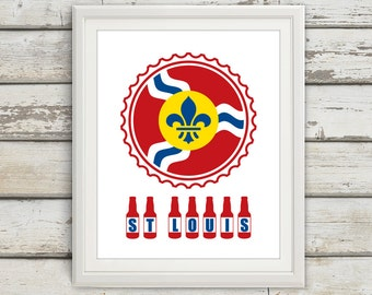 St Louis Beer Print, St Louis Beer, St Louis Skyline, STL, St Louis Print, St Louis Poster, St Louis Art, St Louis Flag, 6 Sizes!