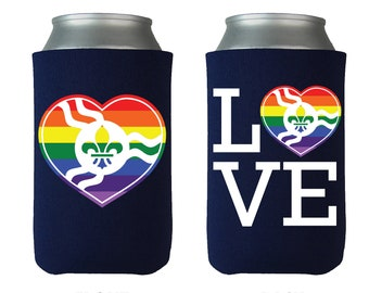 STL Pride Love - Can Cooler - by Benton Park Prints, St Louis, Saint Louis, STL