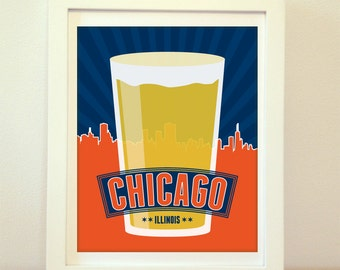 Chicago, CHI, Chicago Beer, Chicago Illinois, Chicago Beer Print, Chicago Art, Chicago City Print, Chicago Map, Chicago Print, Typography