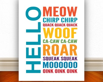 Hello Animals Wall Art, Kids Wall Art, Nursery Wall Art, Home Decor, Home Wall Art, Apartment Art, Apartment Print, Custom Color - 8x10
