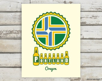 Portland Oregon, Beer Print, Portland, Oregon, Beer Art, Homebrew, Brewery, Brewer Gift, Brewer Artwork, Brewery Print, Bottles, Bottle Cap