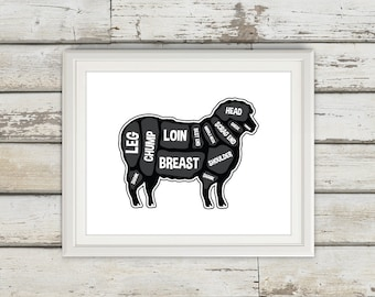 Lamb Butcher Diagram, Butcher Print, Butcher Chart, Lamb Diagram, Home Decor, Kitchen Sign, Kitchen Print, Kitchen Art, Custom Color, Lamb