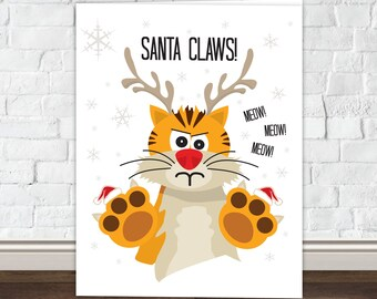 Santa Claws - Cat Christmas Card
