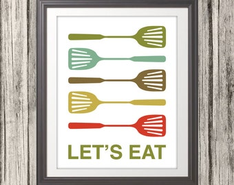 Spatula Print, Spatula Poster, Kitchen Poster, Mid Century Art, Kitchen Print, Kitchen Art, Retro - Spatula Lets Eat Kitchen Quote - 11x14