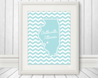 State Heart Print, State Print, State Poster, State Sign, State Art, Chevron, Custom Color  - 8x10