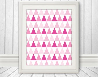 Abstract Pink Triangles, Triangle Print, Triangle Art, Triangle Poster - 8x10
