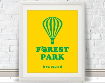 Forest Park - St. Louis Print, STL City, Saint Louis City Poster, Wall Decor