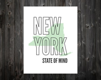 New York State of Mind, New York, New York City, NY, New York Art, New York Print, New York City Print, New York State, New York Decor