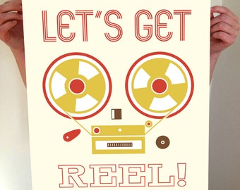 Let's Get Reel, Music Print, Music Poster, Music Artwork, Music Wall Print, Vintage Recorder, Prints For The Home, Music Decor, Reel to Reel