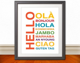 Hello Bonjour Hola Wall Art, Kids Wall Art, Nursery Art, Home Decor, Home Wall Art, Apartment Art, Apartment Print, Custom Color - 11x14