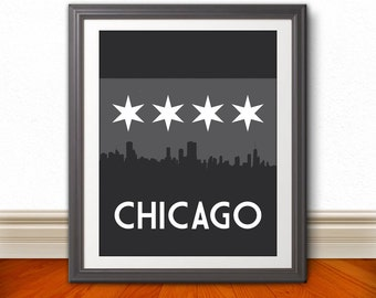 Chicago, Dark Chicago Skyline, Chicago Print, Chicago Art, Chicago Poster