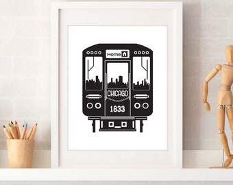 Chicago Train Skyline Print