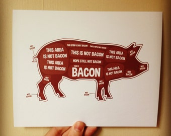 Pig Butcher Diagram, Butcher Chart - Kitchen Sign, Kitchen Print, Kitchen Art, Bacon Print, Bacon Sign, Bacon