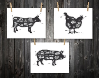 Cow, Pig, Chicken, Butcher Diagram, Butcher Chart. Kitchen Sign, Kitchen Print, Kitchen Art, Bacon Print, Kitchen Decoration - 3 Prints