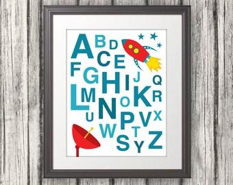 ABC, ABC Wall Art, Alphabet, Alphabet Art, Rocket Ship, abc Poster, abc Print, Alphabet Print, Alphabet Poster, Alphabet Artwork, abcd