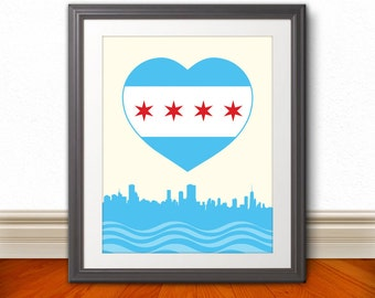 Chicago, Chicago Heart Flag with Skyline, Chicago Poster, Chicago Print, Chicago Sign, Chicago Art, 6 Sizes
