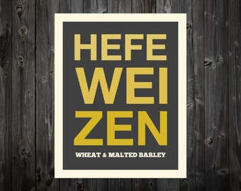 Hefeweizen, Hefeweizen Print, Craft, Beer Art, Beer Print, Beer Poster, Bar Poster, Kitchen, Craft Beer Print, Beer Sign, Craft Beer