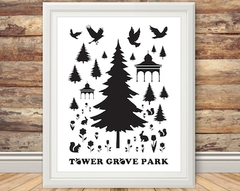 Tower Grove Park - Silhouette Print
