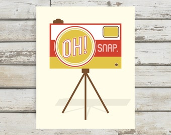 Oh Snap! Camera, Camera Print, Camera Poster, Camera Wall Art, Home Decor, Vintage Camera, Retro Camera, Retro Wall Art, Prints for the Home