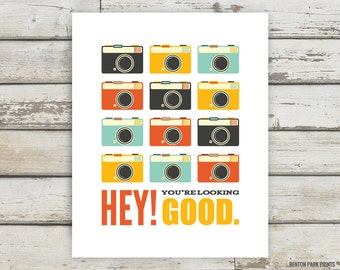 Hey, You're Looking Good, Camera, Camera Artwork, Typography, Apartment Wall Art, Home Decor, Apartment Decor, Dressing Room, Bathroom