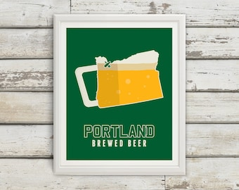 Portland, Oregon, Portland Oregon, Portland Art, Portland Beer, Portland Beer Print, Portland Poster, Portland Print, Oregon Print, Beer