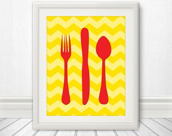 Fork Knife Spoon Print Poster, Mid Century Art, Chevron Print, Kitchen Art, Retro, - Fork Knife Spoon Yellow Chevron 11x14