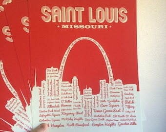 St. Louis 11x14 Red Neighborhoods Poster Special