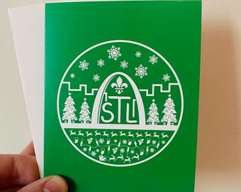 Green St. Louis Skyline Christmas Card