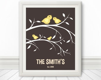 Birds On A Branch, Custom Wedding Gift, Anniversary Gift, Family Tree, Bird Print, Branch Print, Love Birds, Custom Print