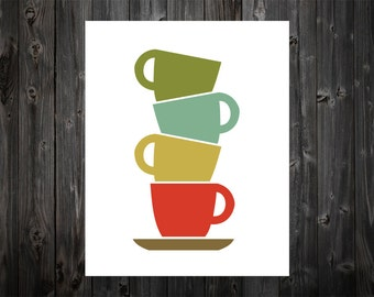 Mid Century Cups, Coffee Cups, Coffee, Tea, Home Decor, Kitchen, Kitchen Art, Kitchen Decor, Kitchen Print, Kitchen Poster, Coffee Cup