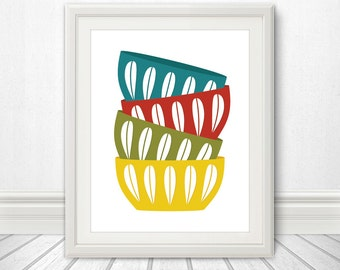 Bowls, Scandinavian Bowls, Mid Century, Stacked Bowls, Cathrineholm, Cathrineholm Print, Kitchen Print, Kitchen Poster, Kitchen Art - 11x14