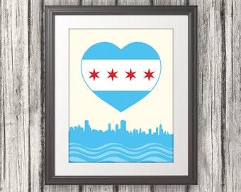 Chicago Heart Flag with Skyline, Chicago Poster Print, Chicago Art, CHI, Chicago, Illinois, Skyline Art, Chicago Flag