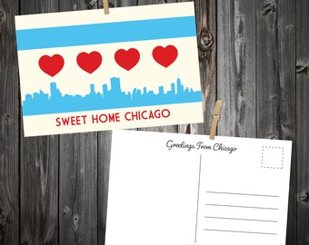 Chicago Heart Flag Postcard Packs
