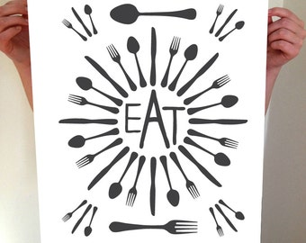 Prints for Kitchen, EAT, Fork Spoon Knife, Fork and Spoon Wall Decor, Fork and Spoon, Wall Decor, Kitchen Wall Art, Utensils