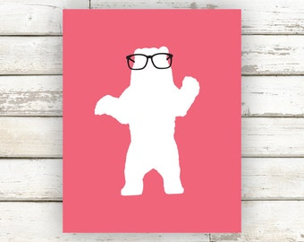 Bear, Bear Poster, Bear Print, Bear Art, Bear Artwork, Bear with Glasses, Animal Print, Animal Poster, Kids Wall Art, Home Decor, Nerd Art