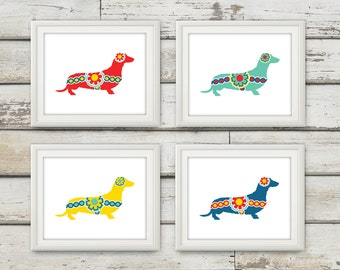 Dachshund, Dachshund Print, Dachshund Art, Swedish Dala Dachshund, Swedish Dala Horse, Wiener Dog, Home Decor, Swedish Horse, 4 Prints